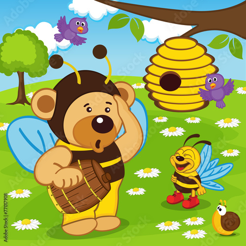 teddy bear dressed as bee goes for honey -  eps