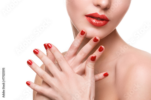 Red nails and lips Fototapeta