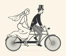 Bride And Groom Riding A Vintage Tandem Bicycle