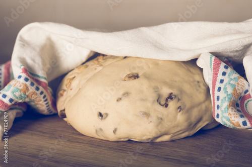 Fototapeta Homemade raw bread dough with  walnuts obraz na płótnie