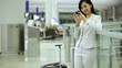 Asian Chinese Businesswoman Airport Global Travel Smart Phone Communication