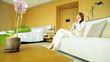 Ethnic Female Financial Advisor Travel Hotel Room Smart Phone Communication