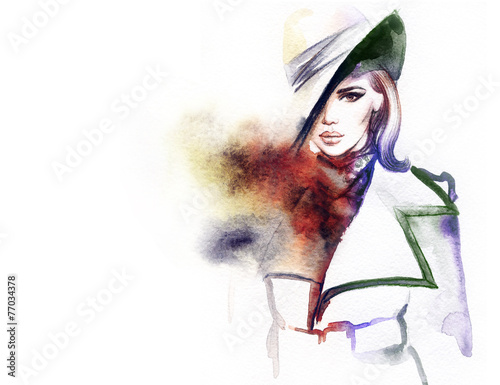 woman in coat .abstract watercolor .fashion background