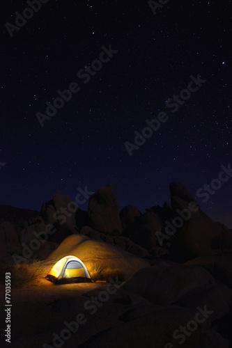 In de dag Kamperen Night Camping in Joshua Tree National Park