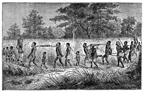 Foto  Victorian engraving of indigenous African slaves and slavers