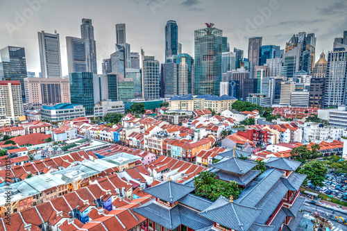 HDR Rendering of Singapore Chinatown and Skyline