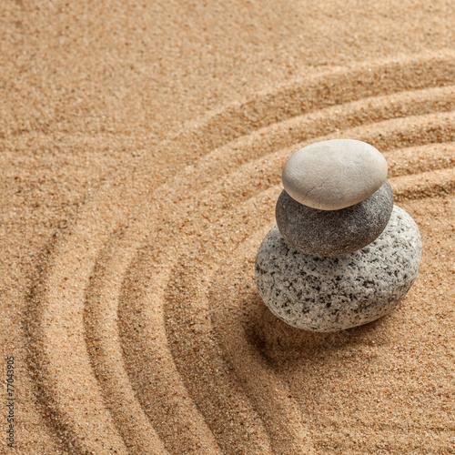 Tuinposter Stenen in het Zand Japanese Zen stone garden
