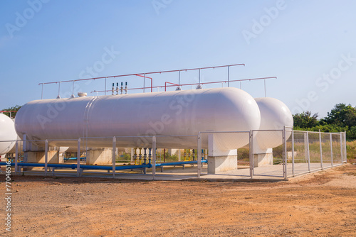 Canvas Print Natural Gas storage tanks in industrial plant.