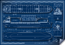 Orthogonal Blue Print Of A Car...