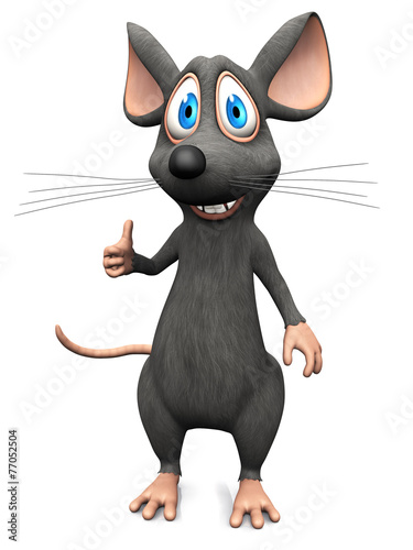 Fototapety, obrazy: Smiling cartoon mouse doing a thumbs up.
