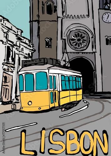 lizbona-akwarela-rysunek-kolorowy-szkic-zolty-tamwaj-komiks