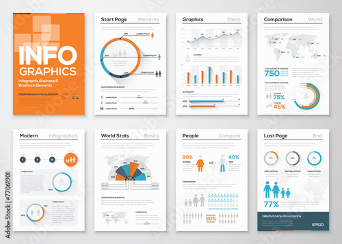 Photo  Big set of infographic elements in modern flat business style