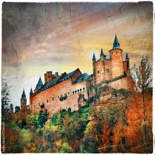 Staande foto India sunset over Alcazar castle, Spain, Segovia, artistic picture