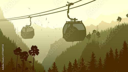 Fototapeta Illustration of mountain forest in gren tone