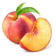Peach With Slice And Leaves Is...