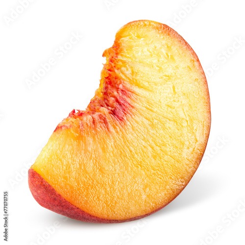 Peach. Slice of fruit isolated on white.