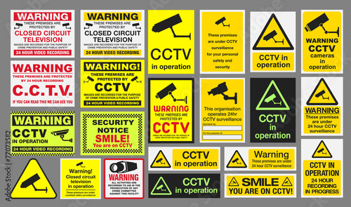 Fotomural CCTV Closed Circuit Television Signs