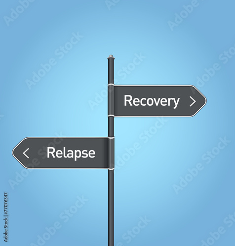 Recovery vs relapse choice road sign Wallpaper Mural