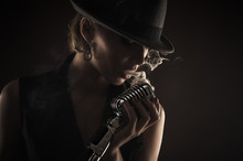 Silhouette Singer Woman With Retro Microphone