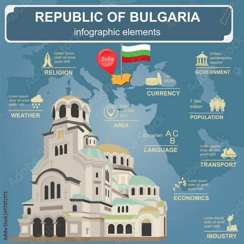 Bulgaria  infographics, statistical data, sights Canvas Print