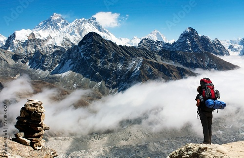 Wall Murals Nepal view of Everest from Gokyo Ri with tourist