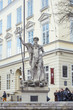 An ancient statue of Neptune in the central square of Lviv - Mar