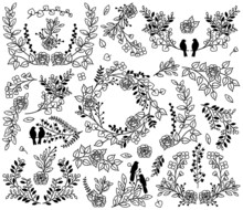 Valentine's Day Or Wedding Themed Laurel And Floral Vectors