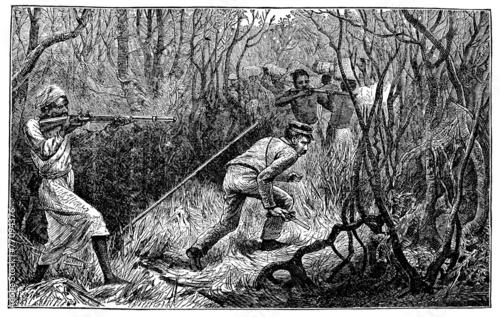 Fotomural  Victorian engraving of an ambush in the African jungle