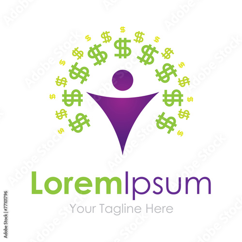 Make money green dollar sign man graphic design logo icon