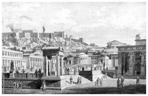 Victorian engraving of an ancient view of the Agora at Athens Canvas Print
