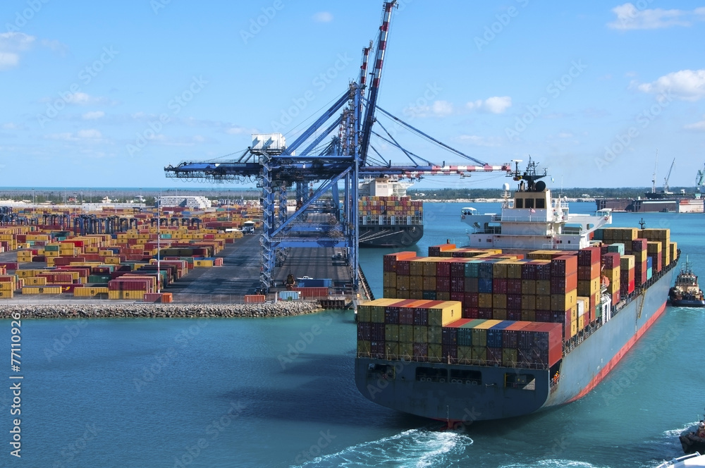 Fototapety, obrazy: Container Port Ship