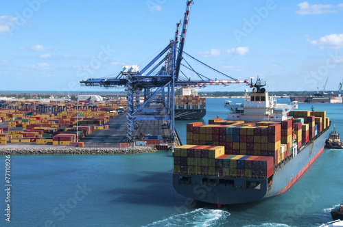 Stampa su Tela  Container Port Ship