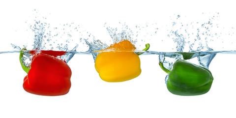 Panel Szklany Warzywa paprika splash