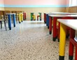 many chairs and tables of kindergarten