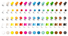 15 Color Pins, Needles, Flags & Magnets Set Shadow