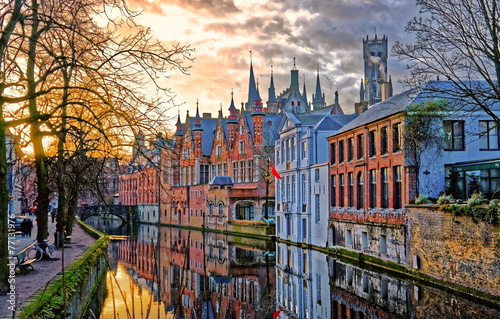 Foto op Plexiglas Brugge Canals of Bruges, Belgium