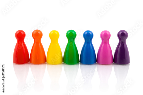 Fotografie, Obraz  Pawns in rainbow colors