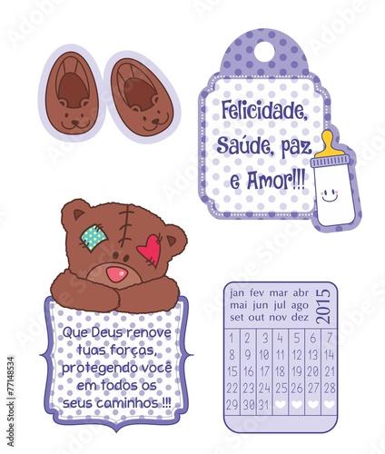 Desenho Ursinho Mamadeira Sapatinho Calendario Scrapbook Buy