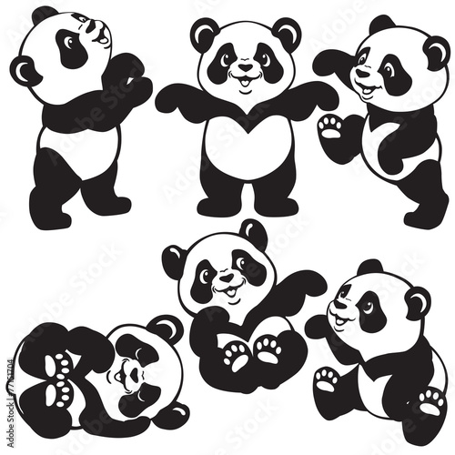 black and white set with cartoon panda #77151704