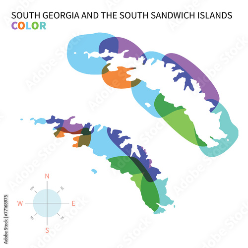 Abstract vector color map of South Georgia and Sandwich Islands ...