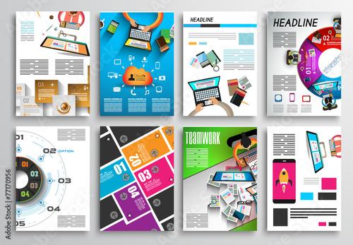 Fototapety, obrazy: Set of Flyer Design, Infographics. Brochure Designs, Technology