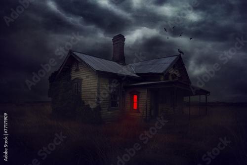 Deurstickers Nacht Mysterious house.
