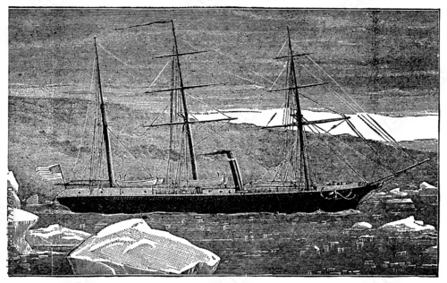Victorian engraving of a steamship in the Arctic Wallpaper Mural