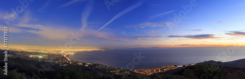 Photo sur Aluminium Los Angeles Santa Monica bay from top