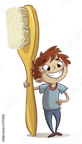 Plakat niño con cepillo de dientes
