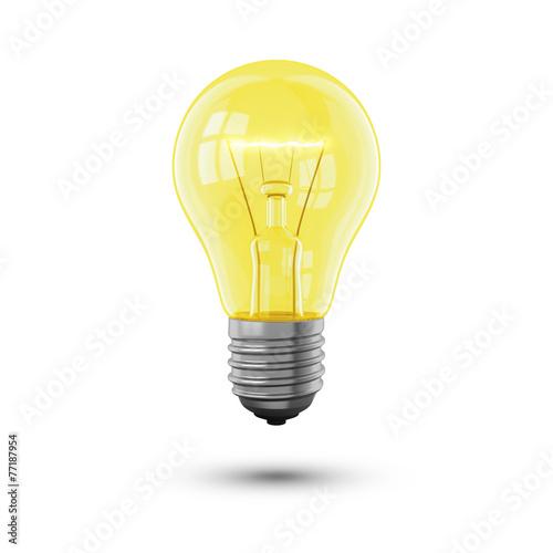 Fotografie, Obraz  Glühbirne hell auf weiss