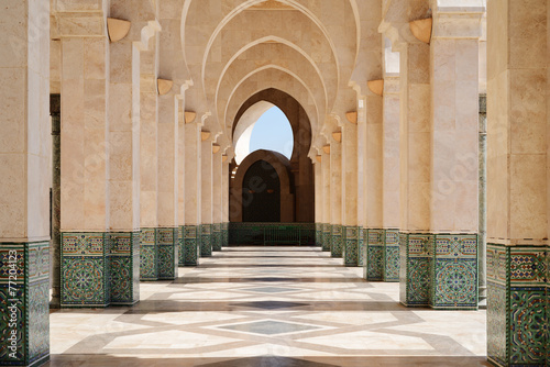 Canvas Morocco. Arcade of Hassan II Mosque in Casablanca