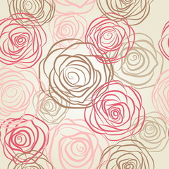 NaklejkaSeamless pattern with flowers roses vector