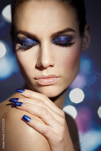 Blue Glitter Tablou Canvas