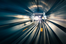 Subway Tunnel With Blurred Lig...